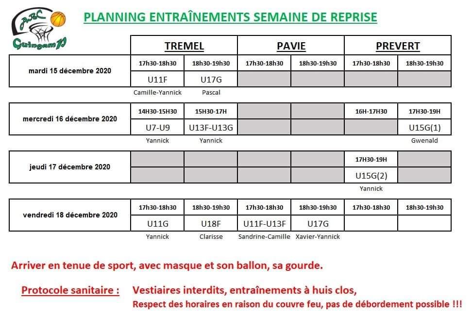 Planning reprise décembre